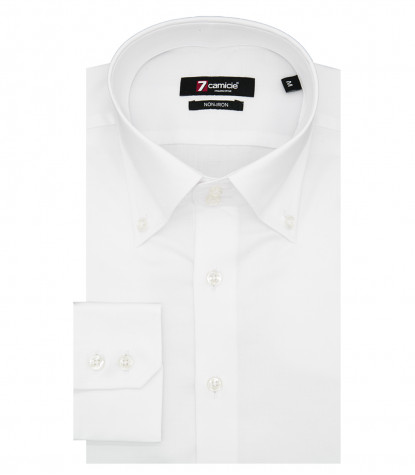 Camicia Uomo 2 Bottoni Button Down Slim No Iron Unito Bianco