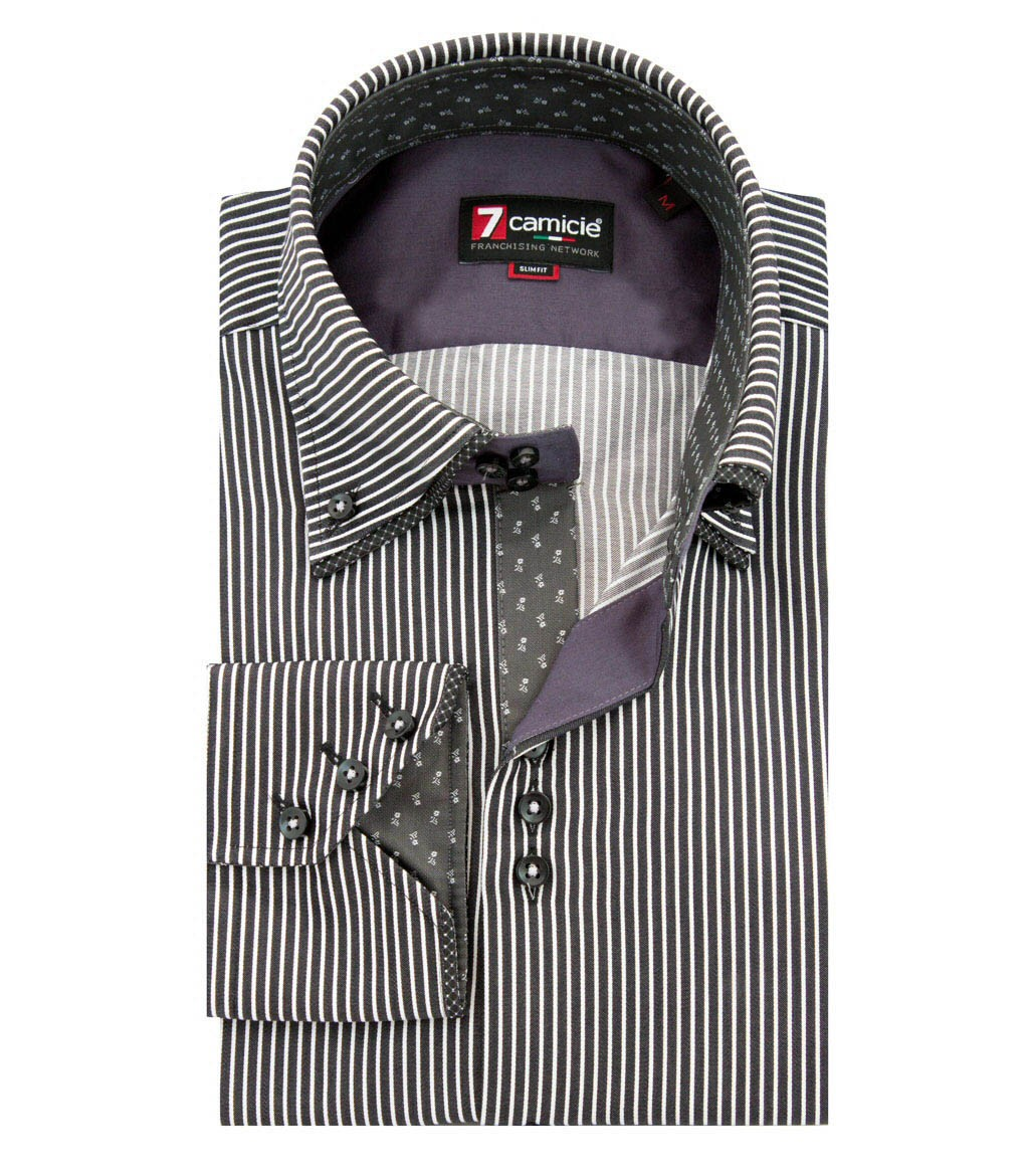 d177245a3aa4d Camisas zoom Satén Blanco Colosseo tap Double to Negro fvfrq