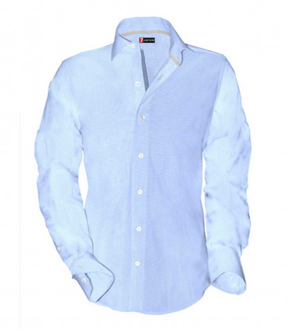 Man Shirt 1 French button Cotton Light Blue