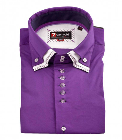 Camicia Uomo 2 bottoni Button Down Triplo Collo Popeline Stretch Unito Viola