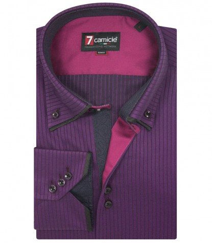 Shirt Colosseo Satin AubergineBlack