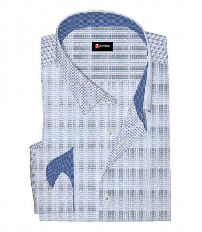 Camicia 1 Bottone Button Down SlimUomo Cotone stampa Bianco/Bluette