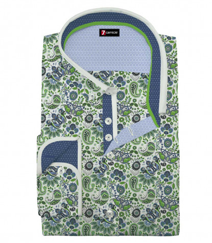 Camicia Uomo 1 Bottone Button Down Slim Popeline Stampa Bianco/Verde