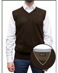 Gilet with Profiles in Contrast Mixed Cachemire Solid Brown\Light Grey