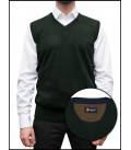 Men's Vest With Contrast Profiles Mixed Cashmere Solid Dark Green / Blue