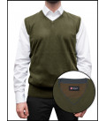 Men's Vest With Contrast Profiles Mixed Cashmere Solid Army Green and Dark Gray