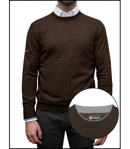 Man Sweater Rounded Collar Mixed Cachemire Solid Brown\Light Grey