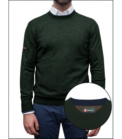 Man Sweater Rounded Collar Mixed Cachemire Solid Dark Green \Blue