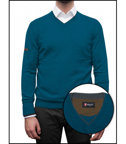 Man Sweater V Collar Mixed Cachemire Solid Blue Seaport and Dark Grey