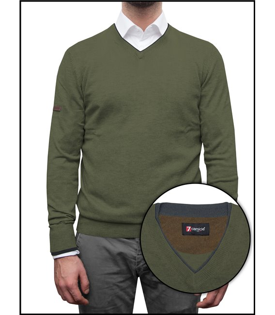 Man Sweater V Collar Mixed Cachemire Solid Military Green and Dark Grey