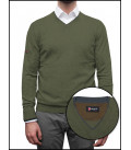 Men's V-Neck Sweater Mixed Cashmere Solid Army Green and Dark Gray