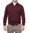 Cardigan whit botton knit man Mixed Cachemire Solid Red Bordeaux