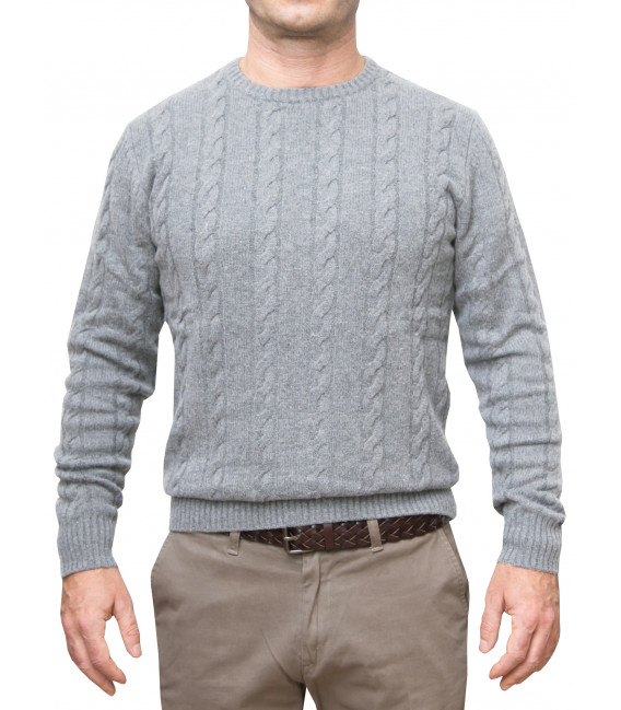 Braid Man Sweater Mixed Cachemire Solid Grey