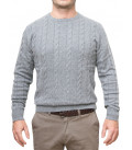 Man's Sweater Woven Weave Mixed Cashmere Plain Gray