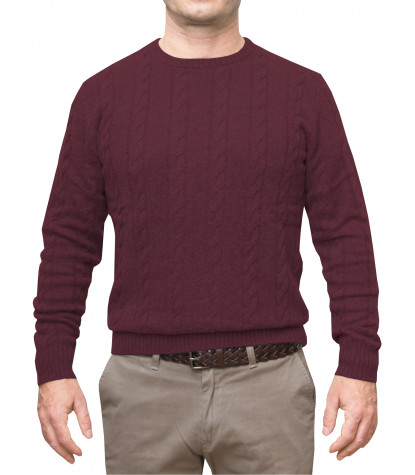 Braid Man Sweater Mixed Cachemire Solid Dk Red