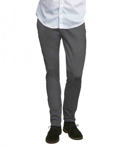 Men's Gray Twill Chinos Trousers