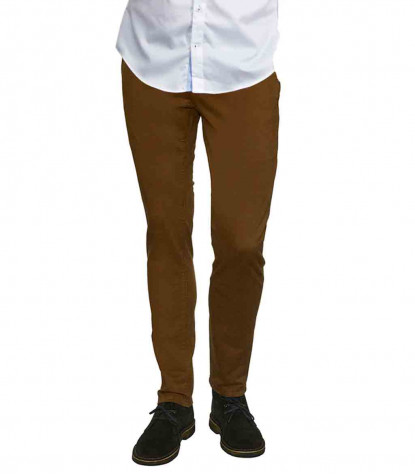Men's Light Brown Twill Chinos Trousers