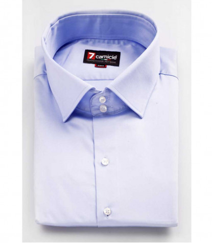 Camicia Uomo Firenze 2 bottoni Collo Francese Satin Celeste