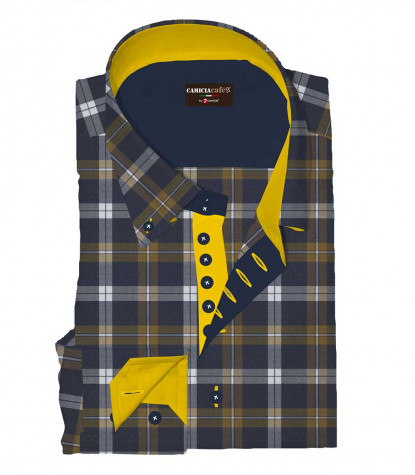 Shirt Roma Cotton Polyester Mustard and Dark Blue