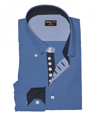 Shirt Roma Cotton Polyester Ink Blue