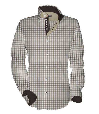 Camicia Uomo Roma 2 bottoni Button Down Quadro medio Bianco Marrone Beige