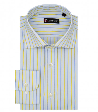 Florence Men's Shirt 1 French Button Narrow Line Light Blue and Yellow