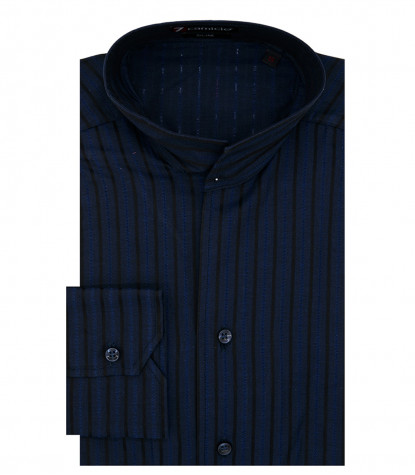 Caravaggio Men's Shirt without Buttons Medium Line Blue and Black