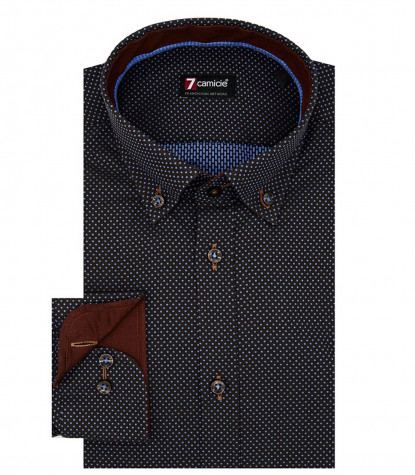 Camicia Uomo 1 Bottone Button Down Slim Jacquard Fantasia Marrone e Celeste Medio