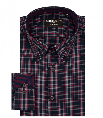1 Button Bdwn Slim Man Shirt Cotone Poliestere Quadro Medio Blu\Rosso