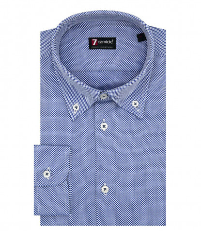 Camicia 1 Bottone Button DownUomo Slim Armaturato Fantasia Bluianco