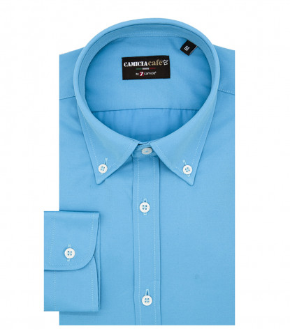 1 Button Bdwn Slim Man Shirt Cotton/Polyester Turquoise