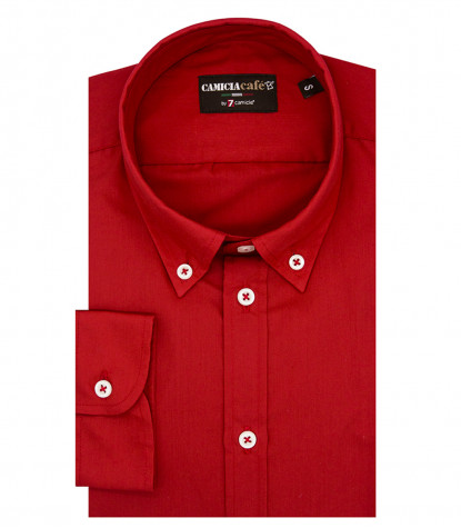 1 Button Bdwn Slim Man Shirt Cotton/Polyester Red