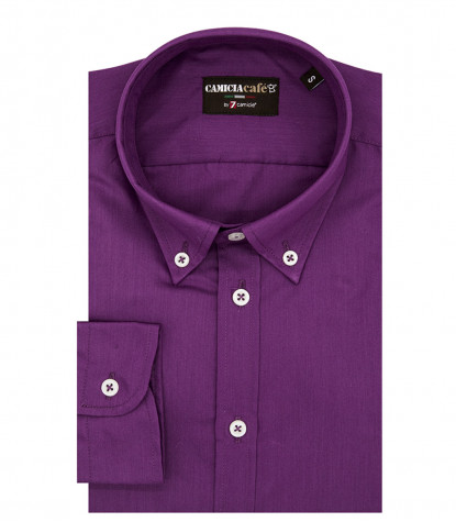 1 Button Bdwn Slim Man Shirt Cotton/Polyester Cyclamen Violet