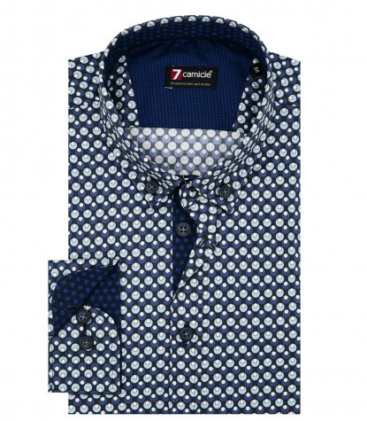 1 Button Button Down Slim Man Shirt Printed Superoxford Bluelue