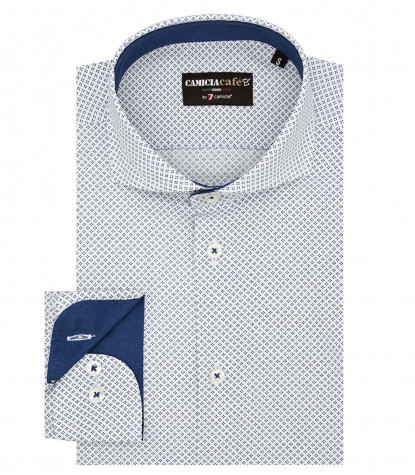 1 Button French Collar Slim Man Shirt Printed Cotton/Polyester