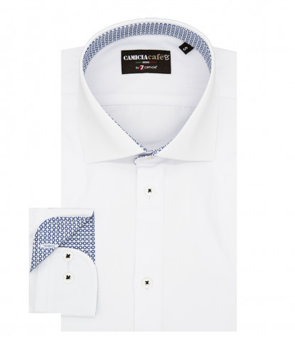1 Button French Collar Slim Man Shirt Solid Cotton Polyester White
