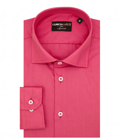 1 Button French Collar Slim Man Shirt Cotton/Polyester Coral