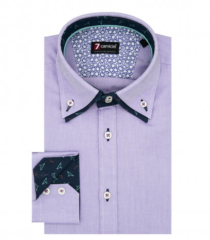 2Buttons Down Double Collar Slim Man Shirt Solid Oxford Lilac