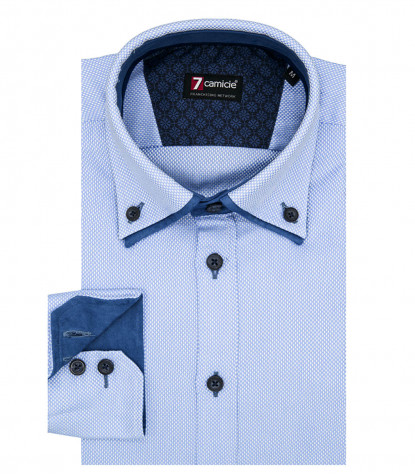 2Buttons Down Double Collar Slim Man Shirt Pattern Woven