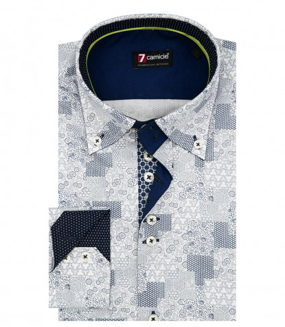 2 Buttons BDW Slim Man Shirt Printed Popeline Whitelue