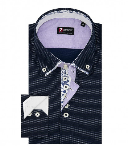 Camicia Uomo 2 Bottoni Button Down 7Bottoni Doppio Collo Slim Popeline Stampato Bluianco