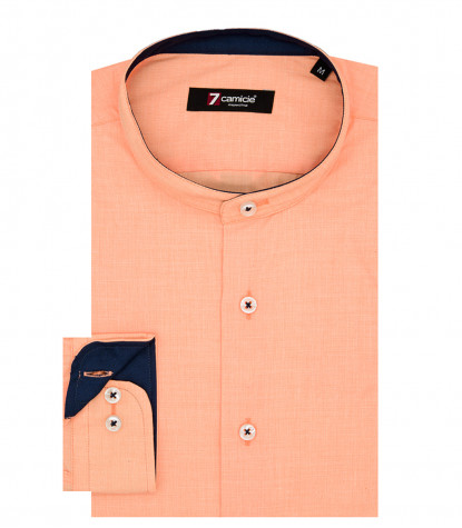 Korean Collar Man Shirt Slim Fit Popeline Plain orange