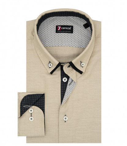 Camicia Uomo Slim 1 Bottone Button Down Doppio Collo Oxford unito Beige
