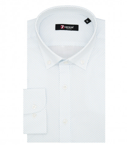 Camicia Uomo 1 Bottone Button Down Slim Jacquard Fantasia Bianco e Turchese