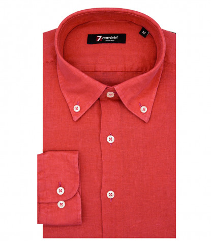 Camisa 1 Boton Button DownHombre Slim Lino Liso Rojo Coral