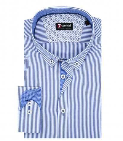 1 Button Button Down Slim Man Shirt Thin Stripe Popeline Blue\White