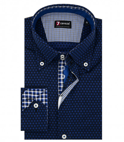 Camicia Uomo 2 Bottoni Button Down Slim Jacquard Fantasia Nero e Bluette