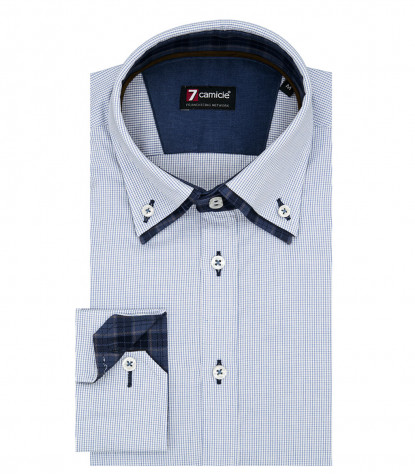 2Buttons Down Double Collar Slim Man Shirt Small Square Popeline