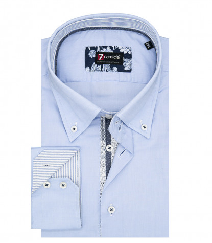 Camicia Uomo 2 Bottoni Button Down Slim Oxford unito Celeste