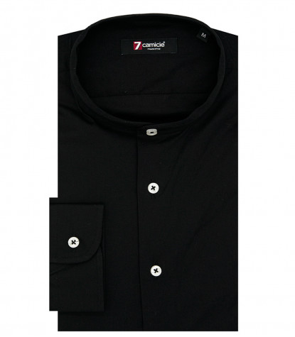 Korean Collar Man Shirt Slim Fit Popeline Stretch Plain Black